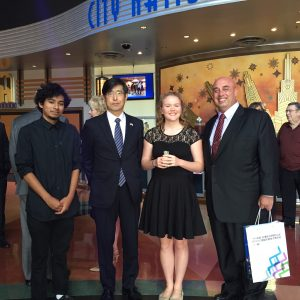 Two Anaheim high school students who did a 2016 summer homestay in Mito, Japan with Consul General of Japan Akira Chiba and Sister Cities International Southern California Chapter President / Anaheim Sister City Commission Vice-Chair Anthony Al-Jamie