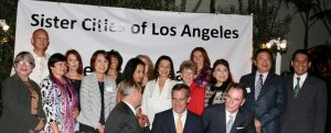 Front: Former L.A. City Councilman Tom LaBonge, L.A. Mayor Eric Garcetti and SCOLA Chairman Tom Gilmore. REAR: Chairpeople of the various sister city organizations of Los Angeles