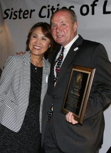Los Angeles Nagoya Sister City Affiliation Chair Teruko Weinberg with former L.A. City Councilman Tom LaBonge